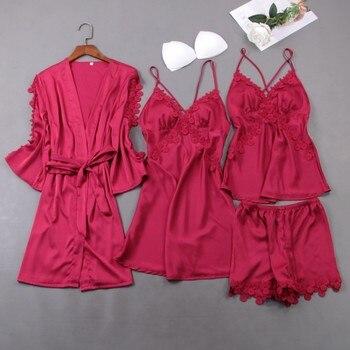 Nighties Gown Set Women 4PCS Nightshirts V-Neck Cami Pajamas Sleepwear Sleep Bathrobe Lady Wear Home Suit Nightgown Spring Robe фото