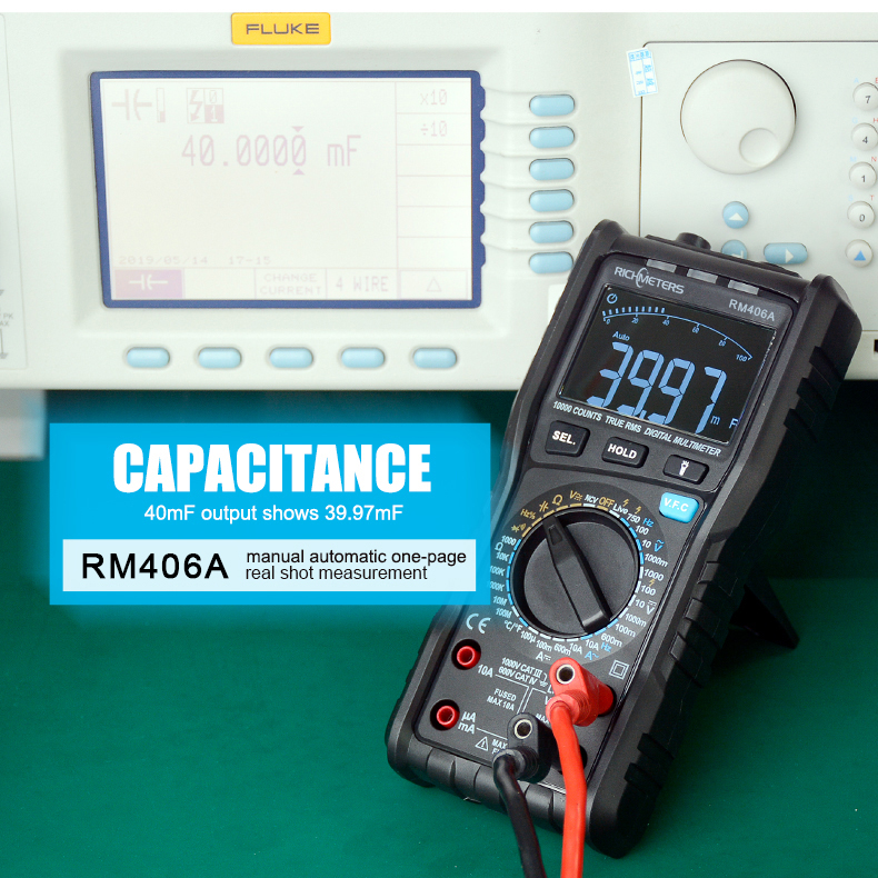 RM406B Digital Multimeter with 10000 Counts and Anti Burn Alarm for AC Voltage and Current Frequency Test 32