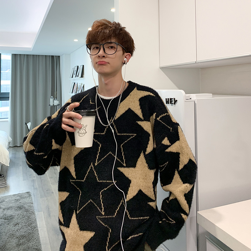 Winter New Sweater Men Warm Fashion Printing Casual O-neck Knit Pullover Man Streetwear Wild Loose Sweater Male Clothes
