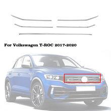 Couverture autocollante pour capot avant de voiture, 5 pièces, Grille centrale en maille, garniture horizontale, style, pour Volkswagen VW TRoc t-roc 2017 2018 2019