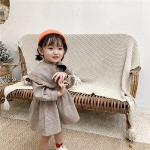 Image 5 - Sweet Princess Girl Lace lapel Dress Children Long sleeved Cotton Dress Pure Color Girls Aline Dress Button Retro Babies Dress