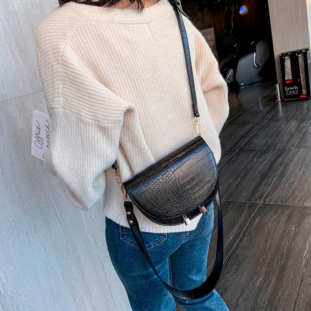 Luxury Crocodile Pattern Crossbody Bags for Women Half Round Messenger Bag PU Leather Handbags Shoulder Bag sac main femme(China)