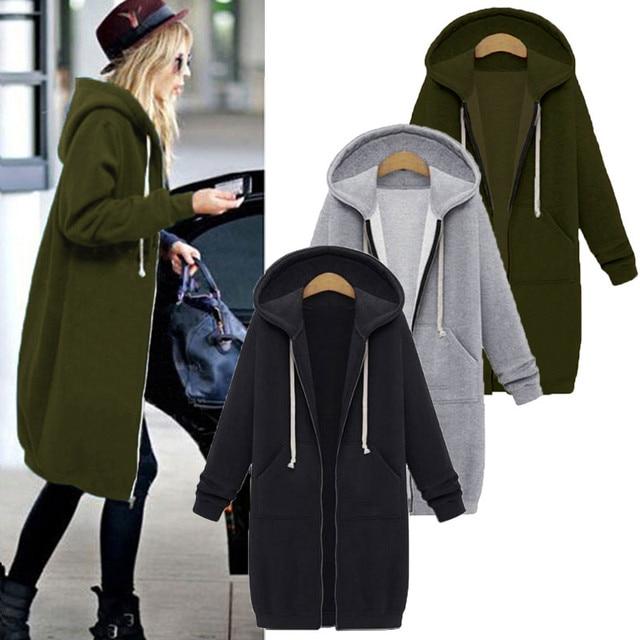 Once 2020 Autumn Casual Women Long Hoodies Sweatshirt Coat Zip Up Outerwears Hooded Jacket Winter Pockets Plus Size Outwear Tops
