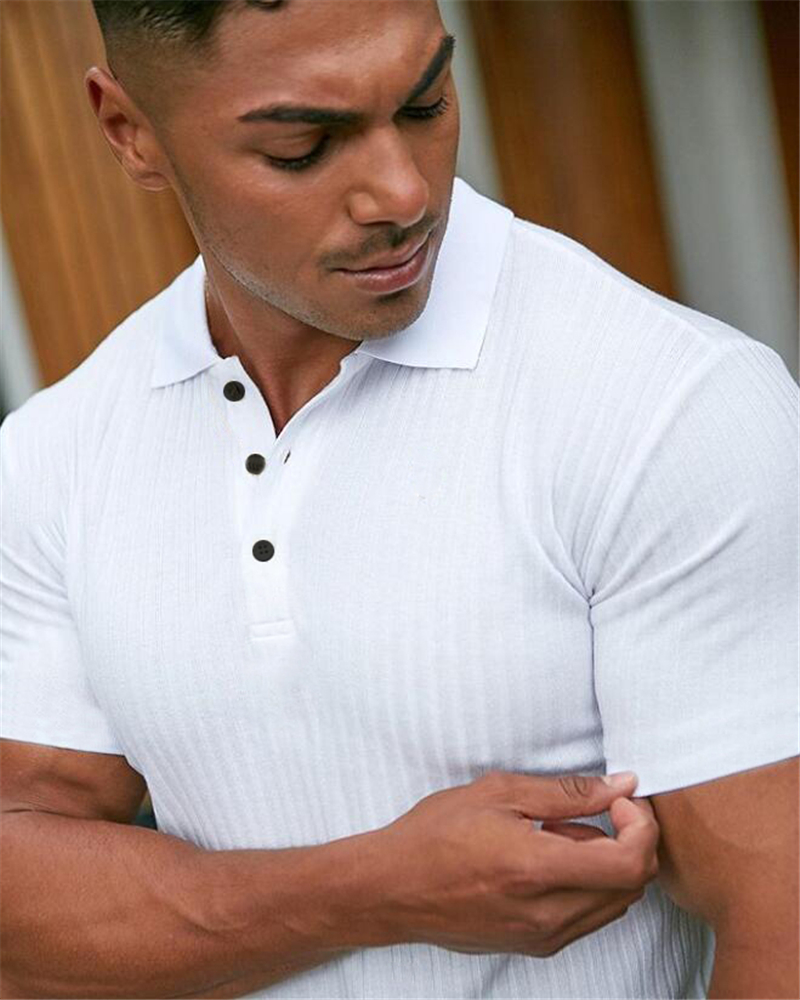 Gym Polo Shirt Men Fashion Turn Neck Short Sleeve Knitted Polos Sports Slim Fit Fitness Bodybuilding Workout Summer Clothing