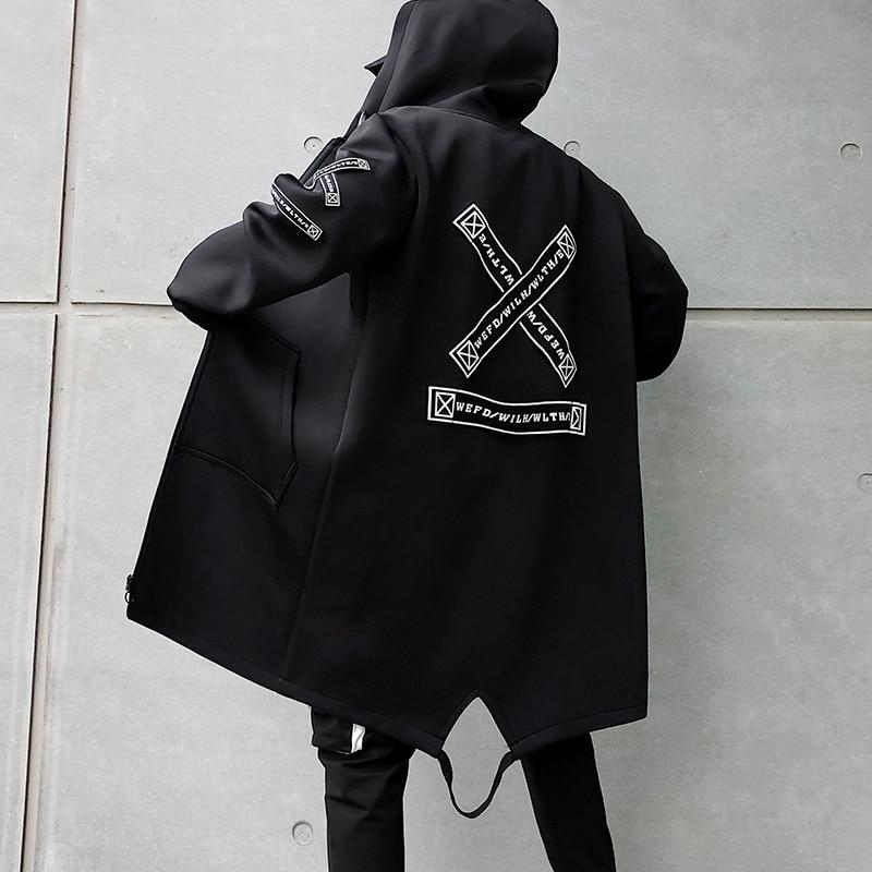 New 2019 autumn men's jacket long windbreaker jacket men's casual hooded warm jacket black white fashion embroidery men's jacket