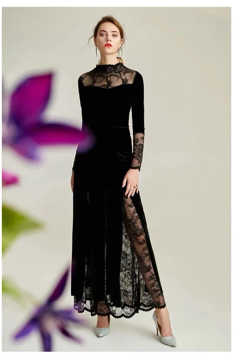 Elegant Velvet Celebrity Dresses Long Sleeves Vintage Illusion Mermaid  Black Party Prom Gowns Embroidery Wedding Guest Dresses