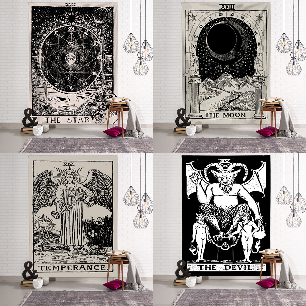 Tarot Card Tapestry  Printed Wall Hanging Astrology Home Furnishings Wall Decoration Cloth Psychedelic  Magic Tapestries Tapiz