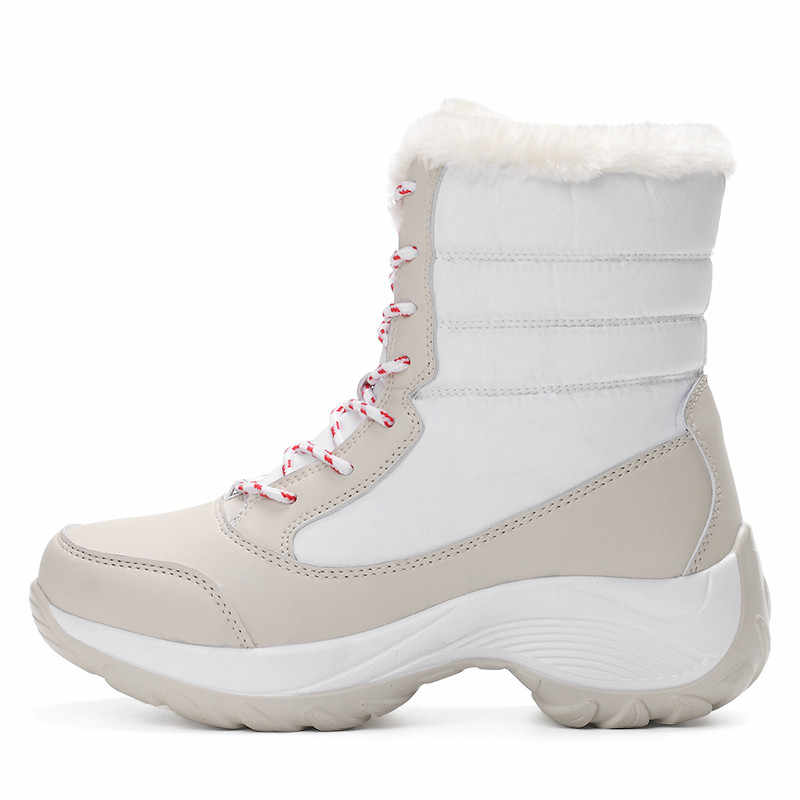 ขนาด 35-42 รองเท้าบู๊ทหิมะ 2019 ฤดูหนาวรองเท้าหนาด้านล่างแพลตฟอร์มกันน้ำกันน้ำสำหรับผู้หญิงหนาขนสัตว์รองเท้าผ้าฝ้าย
