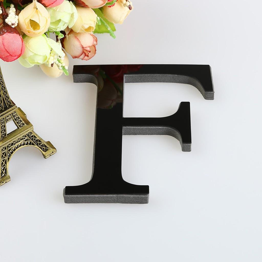 15 CENTIMETRI 3D Specchio Lettere Complementi Arredo Casa Adesivi Da Muro Per Logo Nome Alfabeto di Cerimonia Nuziale di Amore Lettere Inglese Muro Nero/oro/Argento F23