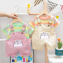 Boys Clothing Sets Summer Baby Girls Clothes Suit Stripe T-Shirt +Bib Pants 2pcs Baby Sets Clothes for Girls Casual Tracksuit cheap O-Neck Pullover B0132 Polyester COTTON Unisex Short REGULAR Fits true to size take your normal size Coat striped Children