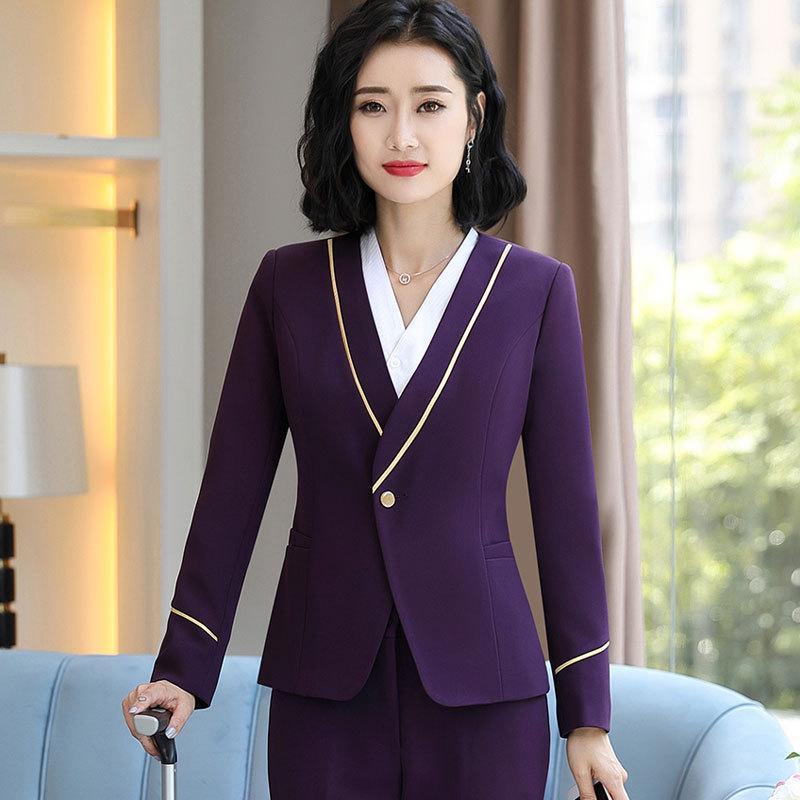 Hot Selling Stewardess Uniforms New Style WOMEN'S Dress Wear Slim Fit Hotel Welcome Workwear Beautician White Collar Work Clothe