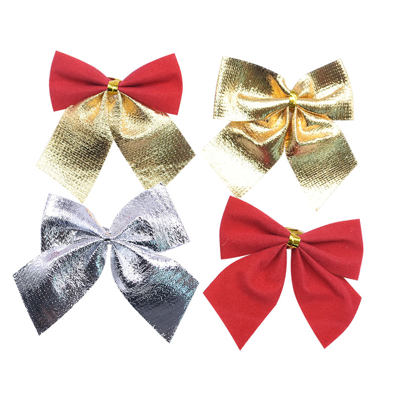 12pcs 5.5cm Pretty Christmas Bows Red Gold Christmas Tree Ornament Baubles for Xmas New Year Party Decoration Christmas Bowknots