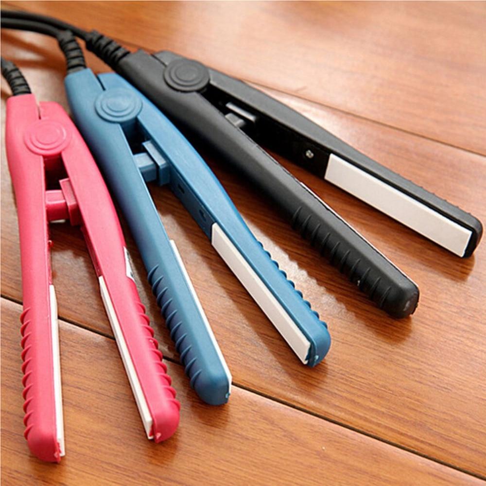 New Mini Hair Straightener Iron Pink Ceramic Straightening Corrugate Curling Iron Styling Tools Hair Curler Tools