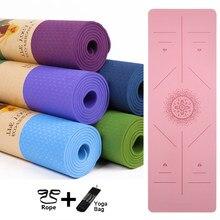 Yoga Mat 1830*590*6mm TPE Yoga paspaslar pozisyon hattı kaymaz Mat Yoga acemi çevre spor jimnastik paspaslar egzersiz matı