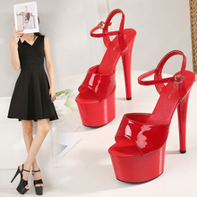 Women Shoes Sandals Platform High-Heels Stilettos Bling Black Sexy Adult 17cm Thin Female