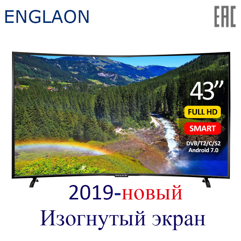 TV polegada ENGLAON 43 UA430SF conduziu a televisão smart TV Curvo Android7.0 TVs Smart TV + TV digital