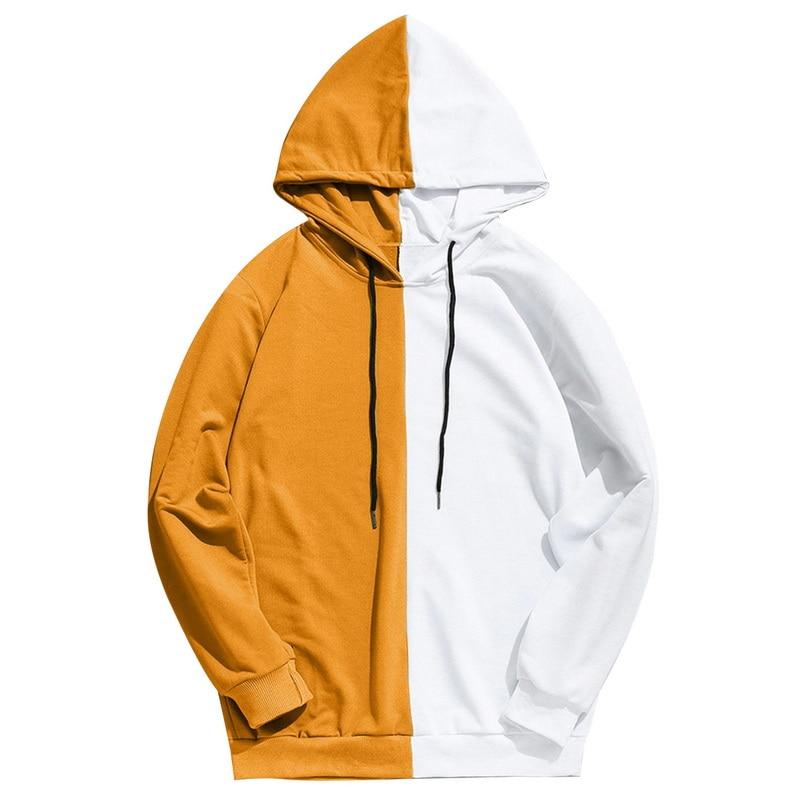Long Sleeve Men's Hoodies Hood Half Black Half White Cool Plain Hoodies Patchwork Cotton Sweatshirt Male Hoody Fashion