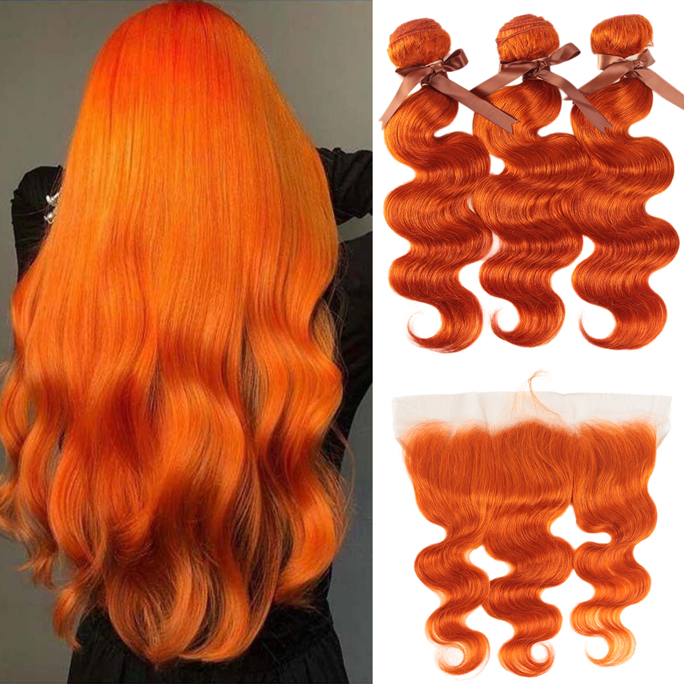 Black Pearl Orange Bundles With Frontal Malaysian Hair Body Wave Bundles 100% Remy Human Hair Extensions 4pcs One Pack