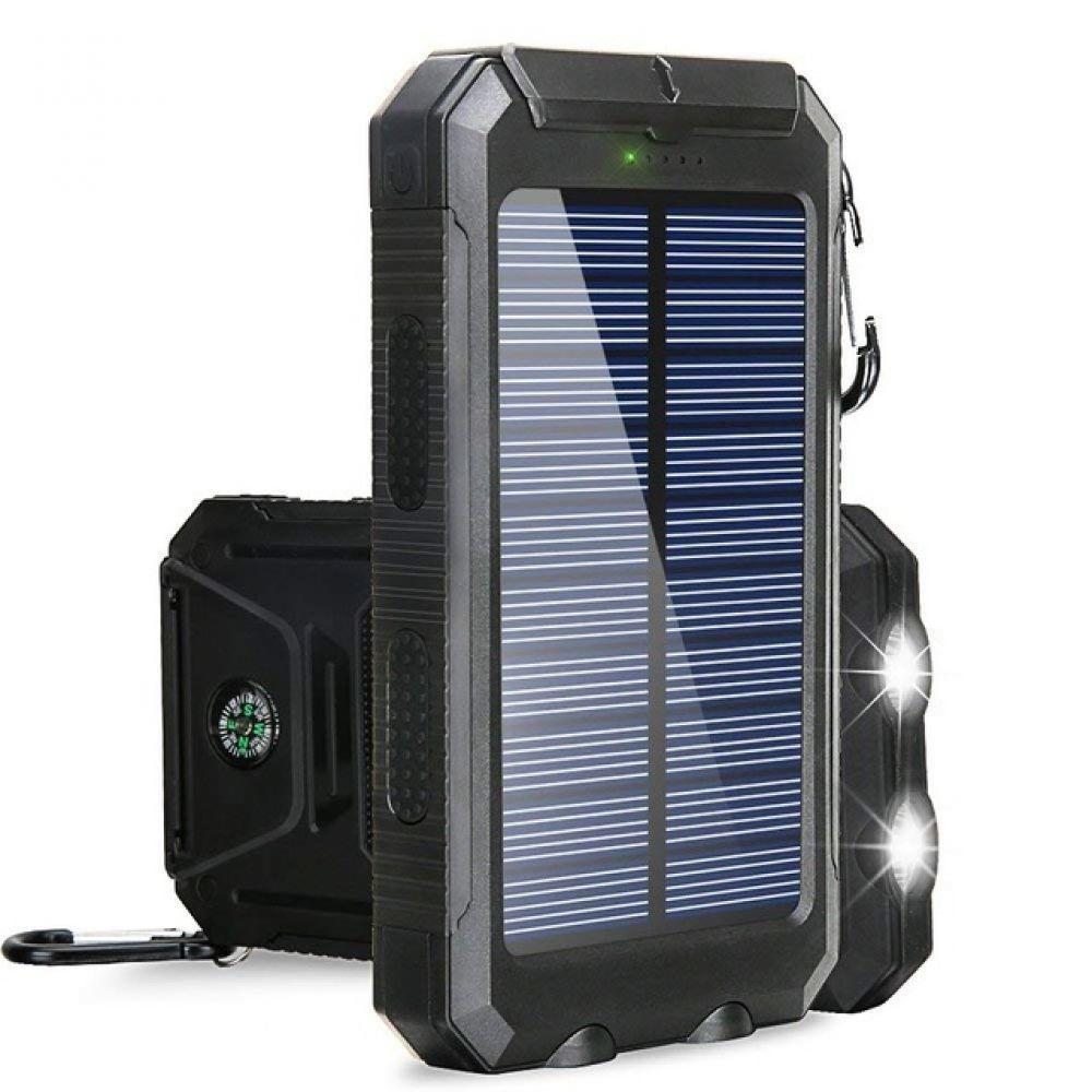 20000mAh High-Capacity Solar Power Bank with Polycrystalline Solar Panel and Dual LED Light 6