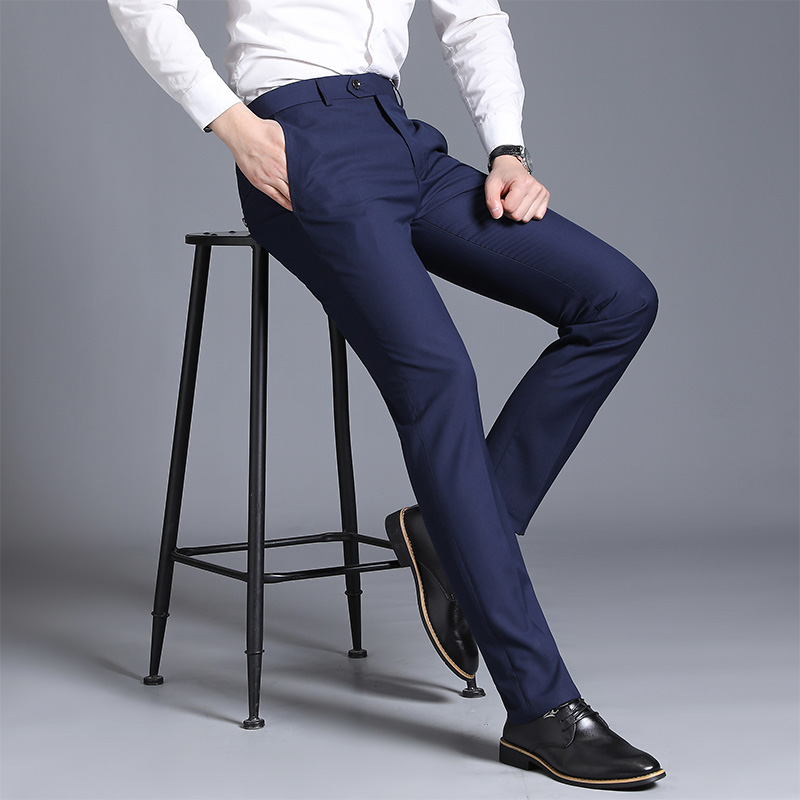 2019 New Fashion Boutique Cotton Solid Color Working Mens Casual Business Suit Pants Groom Wedding Dress Male Slim Trousers