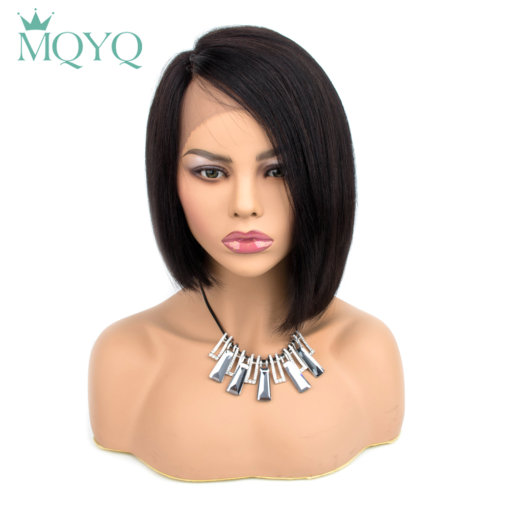 MQYQ HAIR Malaysian Straight Short Lace Part Human Non-remy Hair Wigs With Baby Hair Bob Wig Human Hair Wigs For Black Women