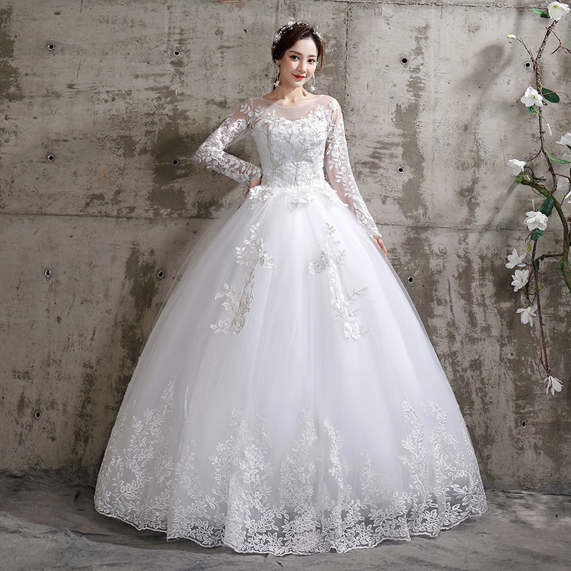 Wedding Dress 2020 New Mrs Win Birde Long Sleeve Ball Gown Luxury Lace Wedding Dresses Vestido De Noiva Robe De Mariee Plus Size