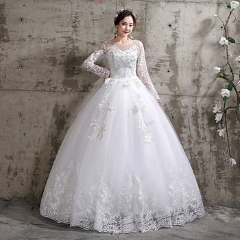 Wedding Dress 2021 New Mrs Win Birde Long Sleeve Ball Gown Luxury Lace Dresses Vestido De Noiva Robe Mariee Plus Size - discount item  36% OFF Wedding Dresses