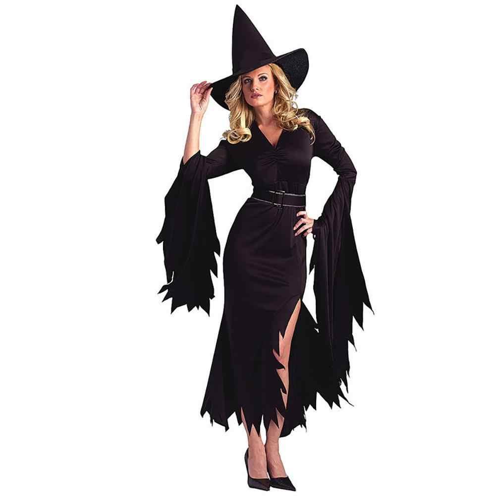 Костюмы на Хэллоуин, чистый цвет, необычный костюм ведьмы для женщин, вечерние карнавальные костюмы, маскарадное платье