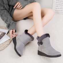 LZJ 2020 Women Snow Boots Warm Short Fur Plush Winter Ankle Boot Plus Size 35-43 Platform Ladies Suede Comfortable Boots(China)
