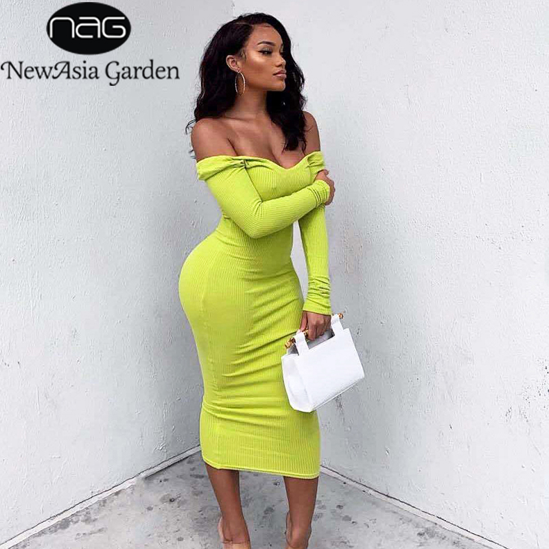 NewAsia Women Autumn Dress 2019 Long Sleeve Cotton Ribbed Maxi Dresses Deep V-neck Off Shoulder Midi Bodycon Dress Knitted Robe