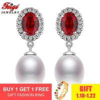 Luxury Cubic Zirconia Pearl Earrings for Women Wedding Jewelry Gift 8 9MM White Freshwater Pearl Stud Earring Dropshipping FEIGE