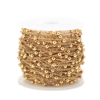 2 Meters Stainless Steel Gold Beaded Satellite Cable Link Chain for DIY Anklet Necklaces Bracelet Jewelry Making Accessories hl 15mm width 2 meters 5 meters leopard elastic band diy garment accessories for making headband