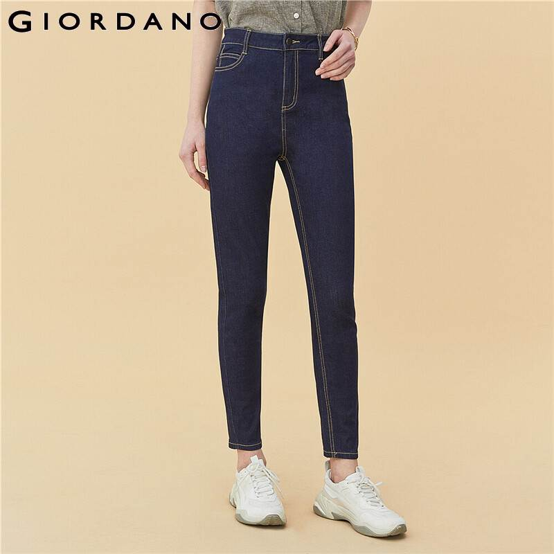 Giordano Women Jeans Slim Stretchy Ankle Length High Waist Jeans Slim Fitting Button Zip Fly Solid Jeans Mujer 05420330 image
