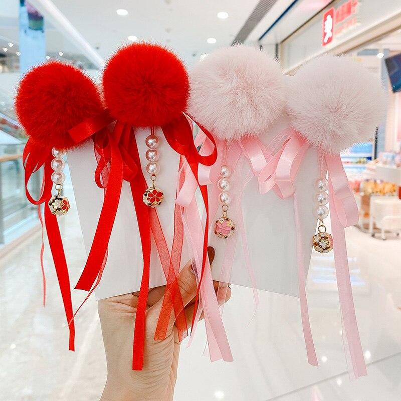 2 unids/set niños lindo perla de flor pelo lazo bola Año Nuevo horquillas bebé niñas ornamento encantador pelo Clips Niños Accesorios para el pelo