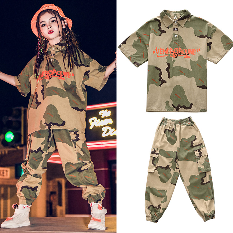 Children Hip-Hop Dance Costumes Kids Jazz Dance Costumes Girls Hiphop Short-Sleeved Camouflage Suit Ballroom Rave Clothes SL2089