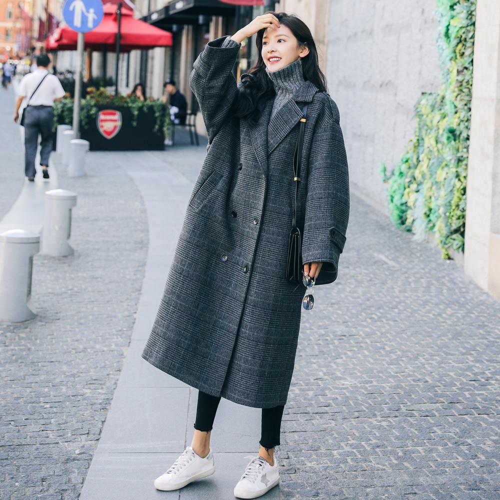 Abrigo de invierno Vintage europeo para mujer, abrigo largo a cuadros, ropa de mujer con doble botonadura, ropa holgada de gran tamaño para mujer