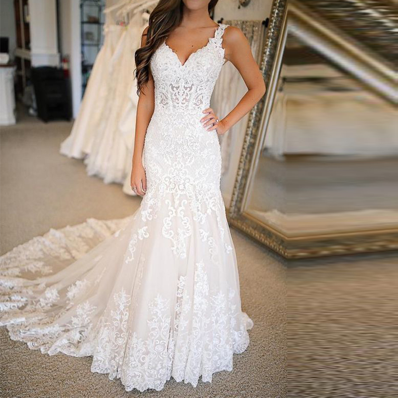 Mermaid Wedding Dresses Lace Applique Deep V Neck Illusion Long Dress Bridal Gowns Custom Vestido Para Madrinha De Casamento