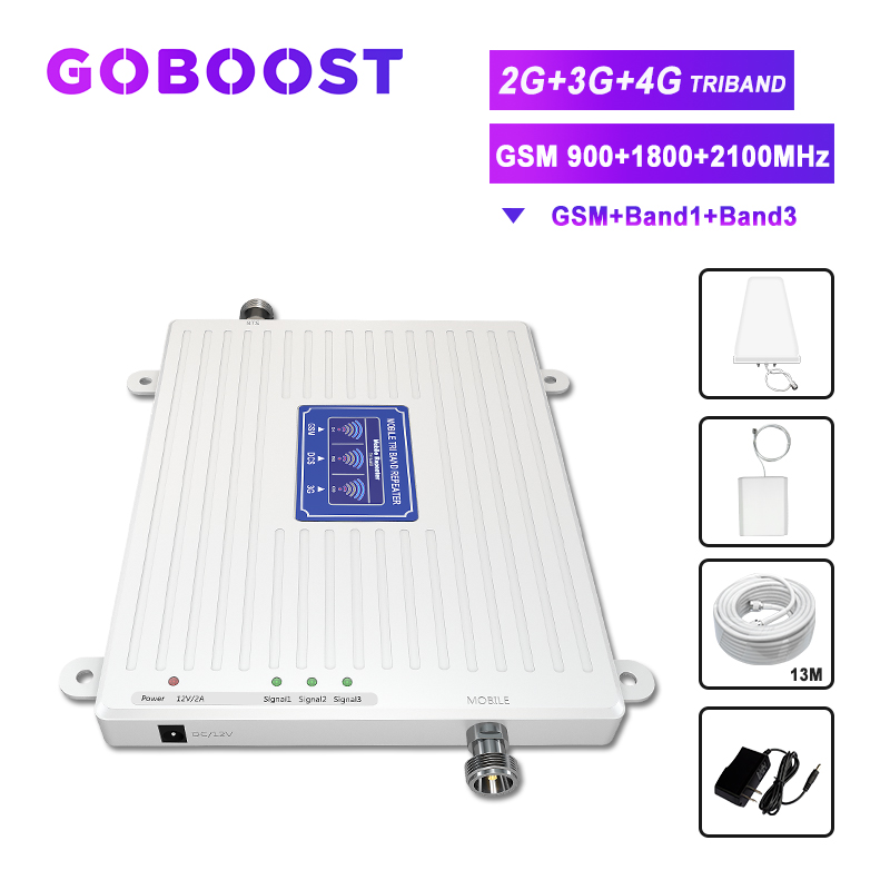 TriBand Repeater 900 1800 2100 2G 3G 4G Cellular Signal Booster LTE FDD UMTS GSM DCS WCDMA Internet Communication Network Kit -