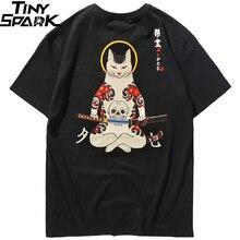 Camiseta japonesa de crânio de gato ninja 2019, camiseta masculina de algodão, hip hop streetwear ukiyoe com bordado, para o verão