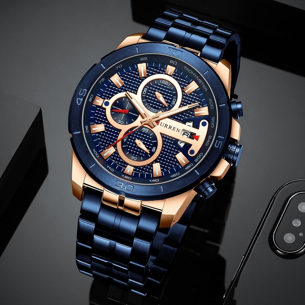 CURREN Business Men Watch Luxury Brand Stainless Steel Wrist Watch Chronograph Army Military Quartz Watches Relogio Innrech Market.com