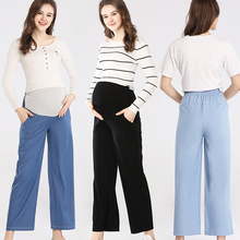 Emotion Moms Womens  Maternity Trousers High Waisted Pregnant Pants Loose Straight Cut Knitted Soft Capris Wear