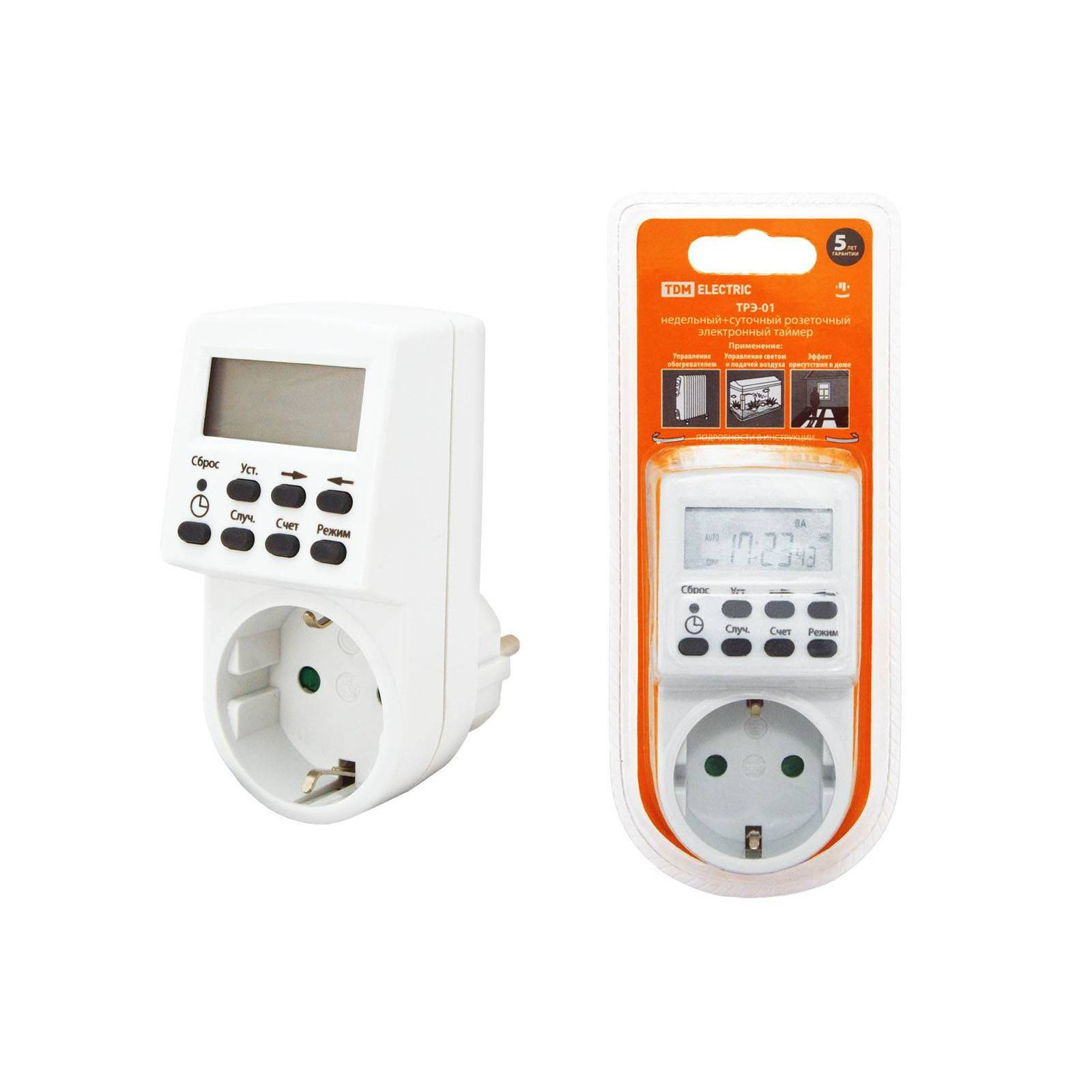 Outlet Timer трэ-01-1мин/7дн-20on/off-16a TDM Sq1506-0002
