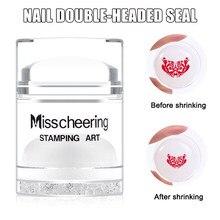 Stamper duplo-ended prego com strass shrinking manicure stamper com raspador conjunto wh998