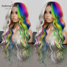 Preferred Highlight Wig Brazilian Remy Lace Front Human Hair Wigs Green Purple Rainbow Color Pre Plucked Ombre Wigs For Women