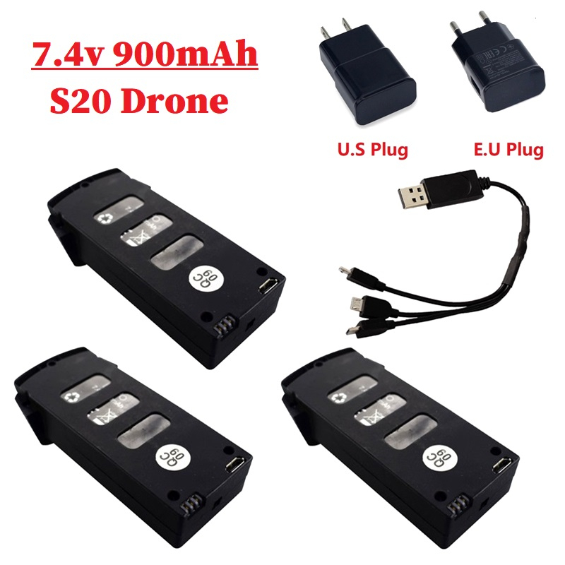 <font><b>7.4V</b></font> <font><b>900mAh</b></font> Lipo Battery For S20/H78G Drone RC Quadcopter Spare Parts for S20/H78G <font><b>7.4v</b></font> Rechargeable Battery With Charger Set image