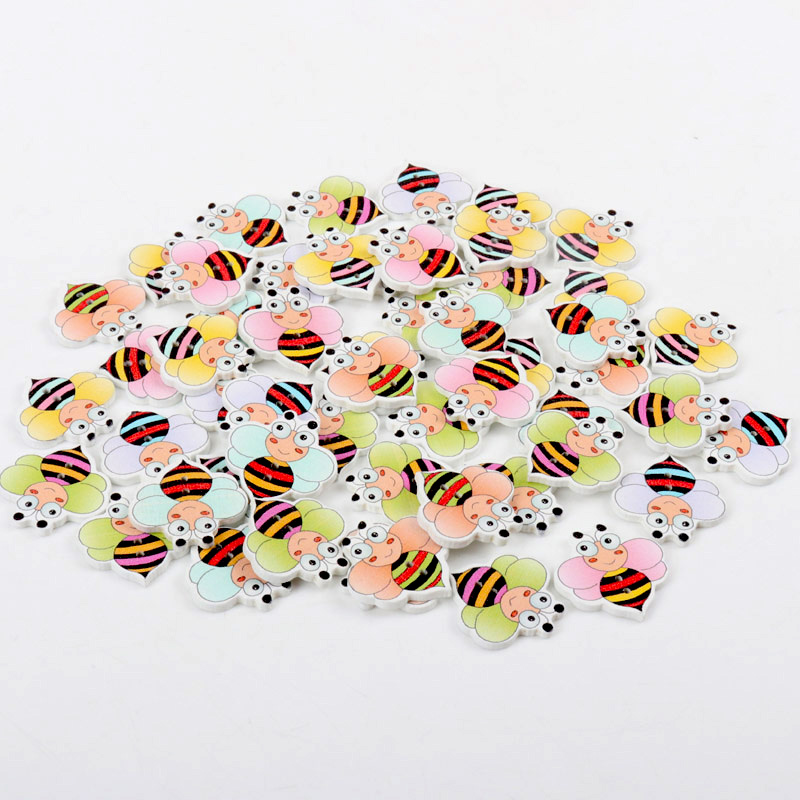 2017 Bee Pattern Wooden Buttons Random Home Decoration Crafts Mixed Sewing Decorative Scrapbooking 20pcs 24x24mm