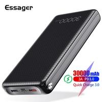 Essager 30000 mAh Power Bank 빠른 충전 3.0 PD USBC 30000 mAh Powerbank iPhone Xiaomi mi 용 휴대용 외장 배터리 충전기