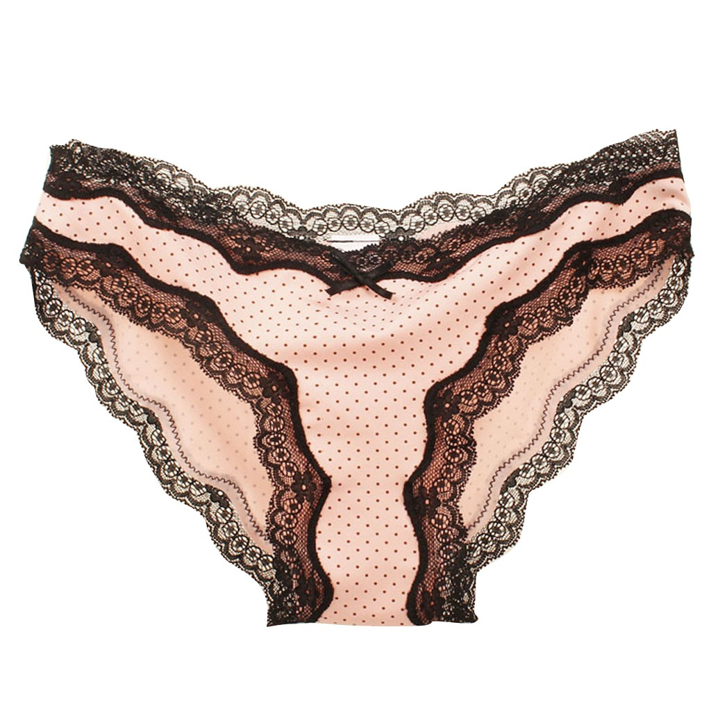 Polka Dot Striped Women Panties Translucent Sheer Lace Underwear Underpant Low Waist Comfortable Bow Briefs Нижнее Белье Женское