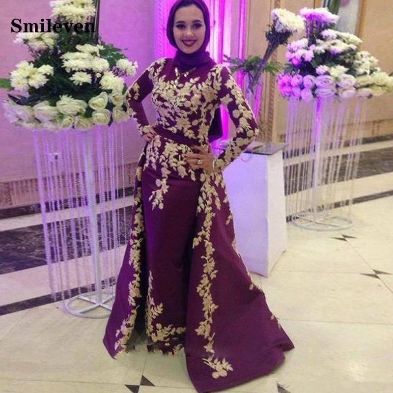 Smileven Caftan karakou algerien Mermaid Formal Evening Dress Long Sleeve Removable Train Gold Lace Peplum Occasion Evening Gown