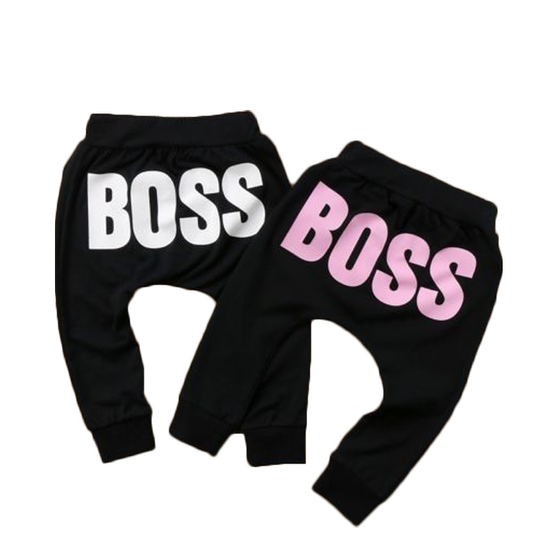 Autumn Baby Boys Girls Pants Letter BOSS Fashion Pants Soft Cotton Cute Loose Harem Pants Casual Trousers Baby Girl Clothes 1-5T